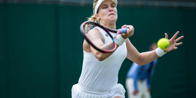 Eugenie Bouchard lors d'un match à Wimbledon, le 5 juillet dernier.