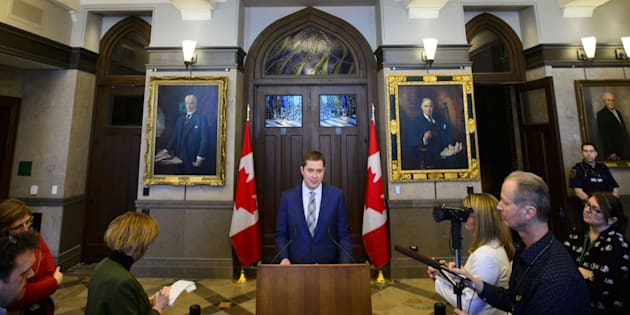 Conservative Leader Andrew Scheer holds a press conference on Parliament Hill in Ottawa on March 25, 2019.