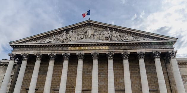 National assembly facade in the city of Paris, France. Asemblee Nationale