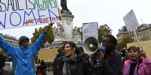Une manifestation #metoo contre le harcèlement sexuel et les violences faites aux femmes, place de la République à Paris, le 29 octobre 2017.