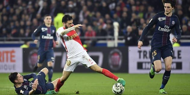 Lors de la finale de la Coupe de la Ligue PSG-Monaco le 1er avril 2017.