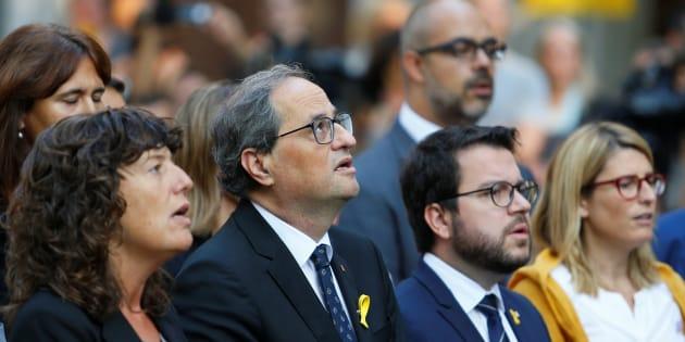 El presidente catalán, Quim Torra, junto a miembros de su Gabinete en los actos de la Diada.