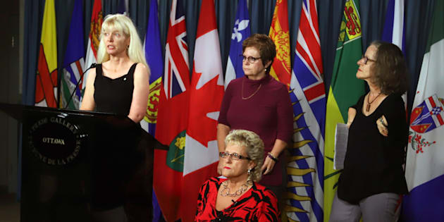 Members of the Thalidomide Survivors Task Group hold a news conference on Parliament Hill, in Ottawa, Dec. 5, 2017. From left to right are Fiona Sampson, Mary Ryder, Lee Ann Dalling and Alexandra Niblock.
