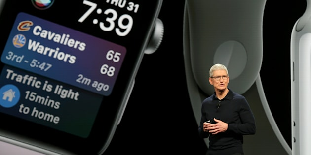 Apple Chief Executive Officer Tim Cook speaks at the Apple Worldwide Developer Conference in San Jose, California.