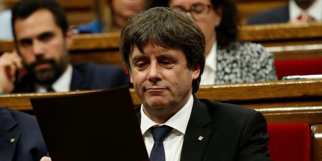 Carles Puigdemont à Barcelone le 10 octobre 2017.