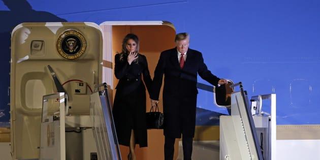 Donald Trump et Melania Trump arrivant Orly ce vendredi 9 novembre