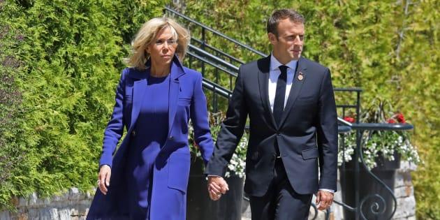 Le président Emmanuel Macron et son épouse Brigitte au sommet du G7 au Canada.