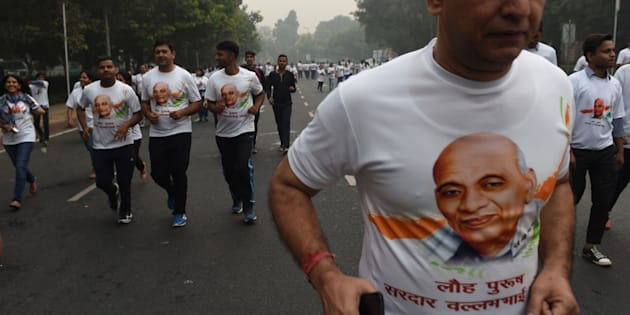 Indian nationals participate in the Run for Unity event in New Delhi on October 31, 2017.
