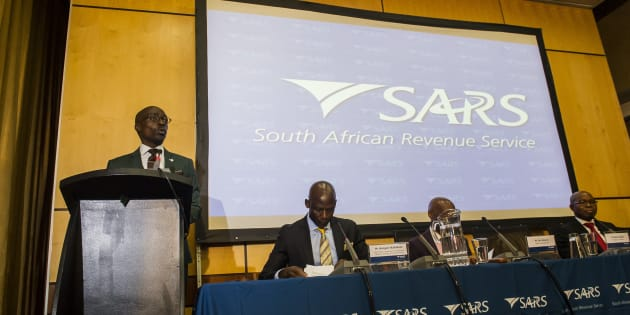 Finance Minister Malusi Gigaba during the South African Revenue Services' preliminary revenue collection results announcement on April 03, 2017 in Pretoria, South Africa. SARS commissioner Tom Moyane revealed the revenue collected R1.14-trillion during the 2016/17 fiscal year.