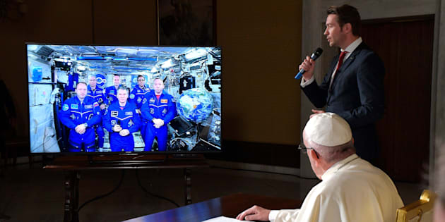 Pope Francis connects to the crew aboard the International Space Station from the Vatican on Thursday.