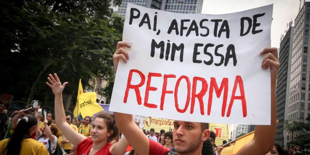 Protesto em São Paulo contra reforma da Previdência.