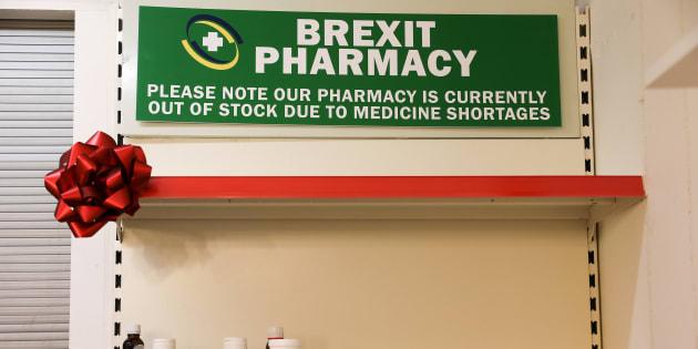 Un installation londonienne alertant sur les risques d'un Brexit sans accord pour l'approvisionnement en médicaments.