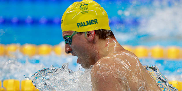 Joshua Palmer  competes in the Men's 100m Breaststroke heat 3 on Day 1 of the Rio 2016 Olympic Games at the Olympic Aquatics Stadium on August 6, 2016 in Rio.