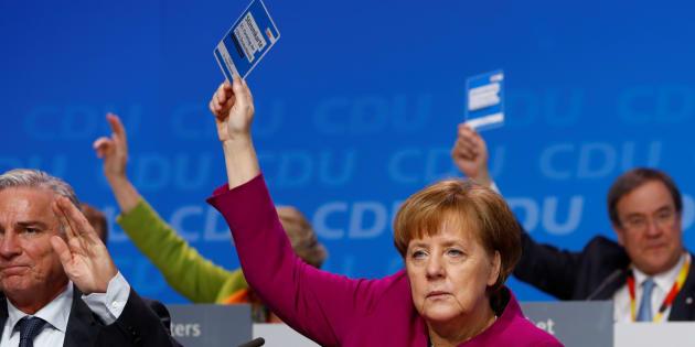 Angela Merkel, durante la votación en el congreso de la CDU.