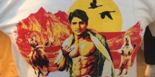 Justin Trudeau représenté sur un tee shirt en Islande.
