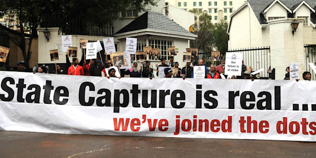 Future SA supporters picket outside the McKinsey offices on October 05, 2017 in Sandton, South Africa.