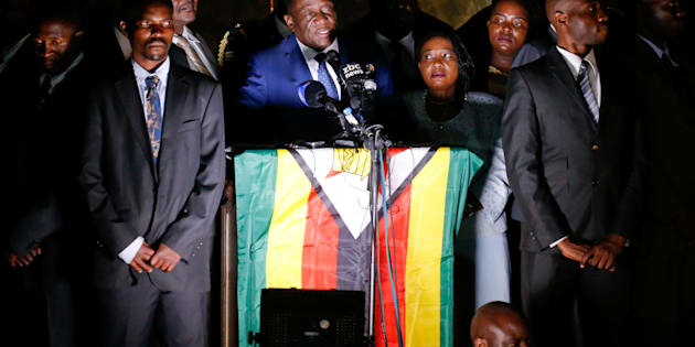 Zimbabwe's former vice president Emmerson Mnangagwa, who is due to be sworn in to replace Robert Mugabe as president, addresses supporters in Harare, Zimbabwe, November 22, 2017.