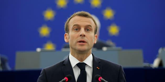 Le président Emmanuel Macron s'exprimant devant le Parlement européen.