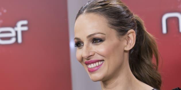 La presentadora Eva González, durante la presentación de la 5ª edición de 'MasterChef Junior' el 14 de diciembre de 2017.