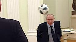 VIDEO: Putin y exestrellas hacen malabares con un balón de