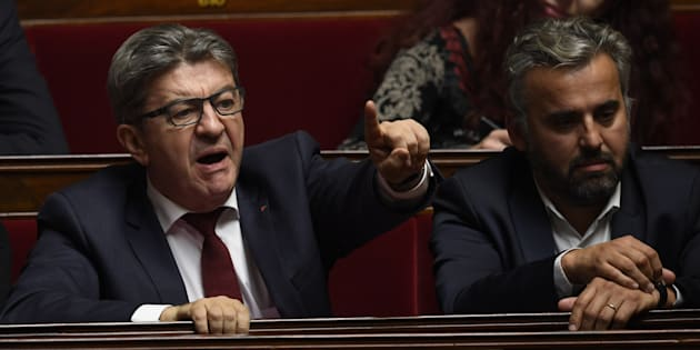 Jean-Luc Mélenchon, leader de la France insoumise, et Alexis Corbière à l'Assemblée nationale lors des questions au gouvernement, le 17 octobre 2018.