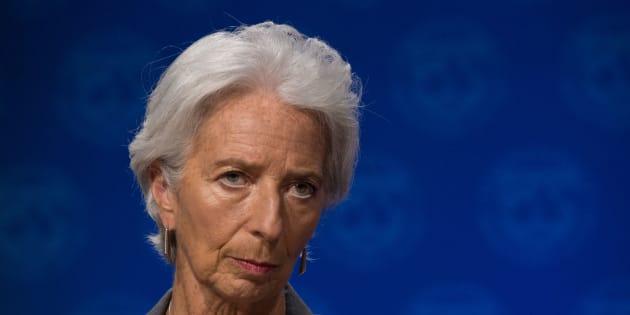 La directora del Fondo Monetario Internacional, Christine Lagarde, en una rueda de prensa en Washington.