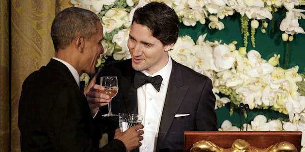 Prime Minister Justin Trudeau toasts former U.S. President Barack Obama during a state dinner at the White House on March 10, 2016.