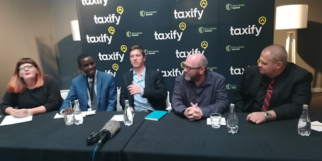 From L-R: Facilitator Elsabe Booysens, Brian Maphosa (Number-One Driver), Peter Matthaei (Namola CEO), Gareth Taylor (Taxify country manager) and Werner Koekemoer (security specialist) at the Taxify drivers security summit in Johannesburg, April 4, 2018.