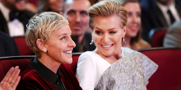 LOS ANGELES, CA - JANUARY 18:  TV personality Ellen DeGeneres (L) and actress Portia de Rossi attend the People's Choice Awards 2017 at Microsoft Theater on January 18, 2017 in Los Angeles, California.  (Photo by Christopher Polk/Getty Images for People's Choice Awards)
