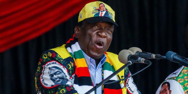 Emmerson Mnangagwa, el actual presidente, en un acto de campaña.