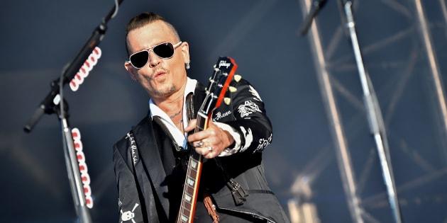 Johnny Depp sur la scène du Hellfest à Clisson le 22 juin 2018.