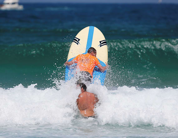 Physically-challenged surfers take to the sea