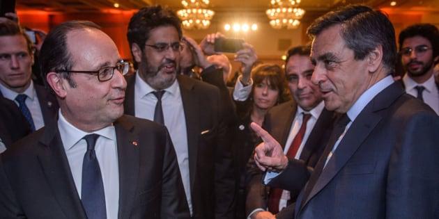 François Hollande et François Fillon au dîner du Crif le 22 février