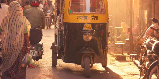Back lit street scene in Jodhpur, India