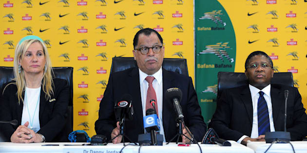 SAFA President Danny Jordaan (C) during a press conference in July 2014.