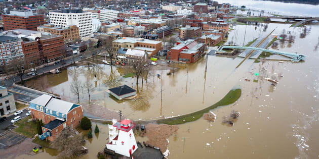 An aerial view of flooding in Fredericton, N.B., in the spring of 2018. The Saint John River is forecast to flood more frequently as global temperatures rise.