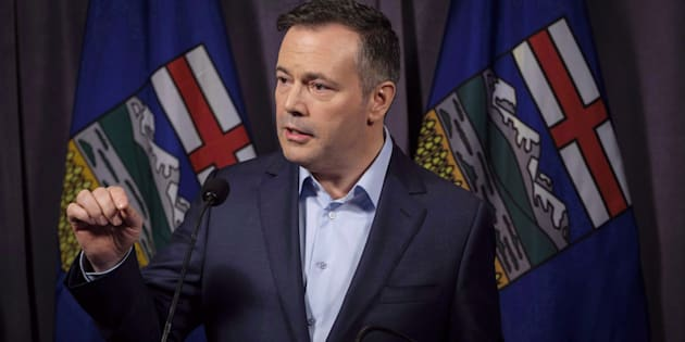 Jason Kenney speaks to the media at his first convention as leader of the United Conservative Party in Red Deer, Alta., on May 6, 2018.