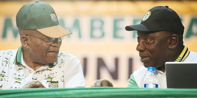 Former president Jacob Zuma (L) and President Cyril Ramaphosa during the 54th national conference of the African National Congress party in Johannesburg, South Africa, on Monday, Dec. 18, 2017.