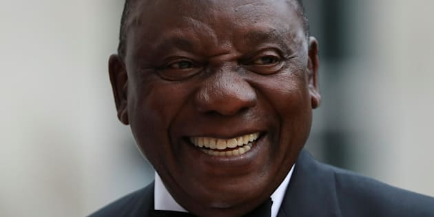 South Africa's President Cyril Ramaphosa reacts as he arrives to attend the Commonwealth Business Forum Banquet at the Guildhall in London, Britain April 17, 2018. REUTERS/Simon Dawson