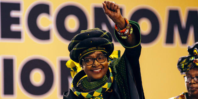 Winnie Madikizela-Mandela greets the audience during the 54th national conference of the African National Congress party (ANC) in Johannesburg, South Africa, on Saturday, Dec. 16, 2017.