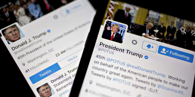 The Twitter Inc. accounts of U.S. President Donald Trump, @POTUS and @realDoanldTrump.