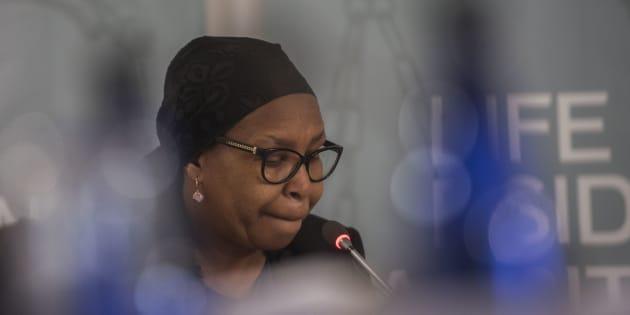 Former Gauteng health MEC Qedani Mahlangu testifies during the Life Esidimeni arbitration hearings on January 22, 2018 in Johannesburg, South Africa.