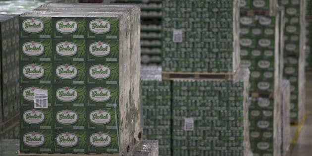 Sealed crates of Grolsch beer sit on pallets before delivery inside the Grolsch beer brewery, operated by SABMiller Plc, in Enschede, Netherlands, on April 25, 2016.