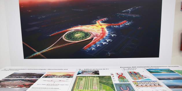 Planos del Nuevo Aeropuerto Internacional de la Ciudad de México (NAICM) en Texcoco.