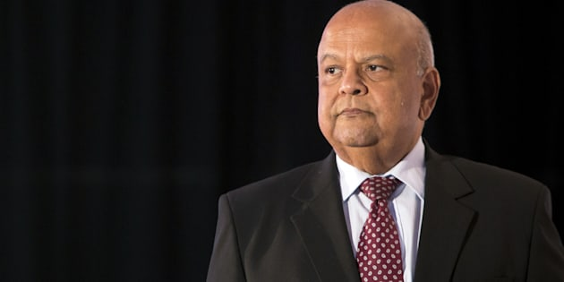 Pravin Gordhan, the Minister of Public Enterprises, arrives on stage to speak during the Future of South Africa Conference in Cape Town. Wednesday, March 7, 2017.