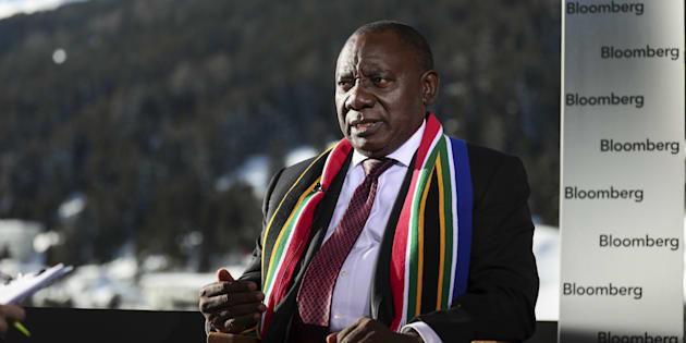 Cyril Ramaphosa during a Bloomberg Television interview on day two of the World Economic Forum (WEF) in Davos, Switzerland, on Wednesday, Jan. 24, 2018.