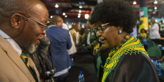 SOWETO, SOUTH AFRICA  DECEMBER 20: (SOUTH AFRICA OUT): Winnie Madikizela Mandela with Gwede Mantahse  during the 1st speech of Cyril Ramaphosa as the president of the ANC  at 54th African National Congress (ANC) national conference at the Nasrec Expo Centre on December 20, 2017 in Soweto, South Africa. The national executive committee (NEC), consisting of 80 members was announced after Ramaphosa's speech.  They play a crucial role in the partys decision making processes. (Photo by Alet Pretorius/Gallo Images/Getty Images)