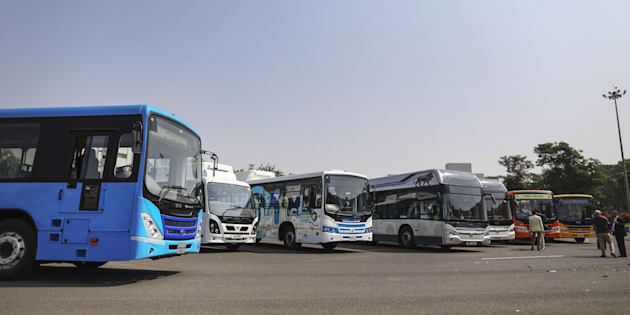 A range of newly-launched Tata Motors Ltd. hybrid and electric buses stand on display at the company's commercial vehicle manufacturing unit in Pune, India, on Wednesday, Jan. 25, 2017. Image used for representational purposes only.