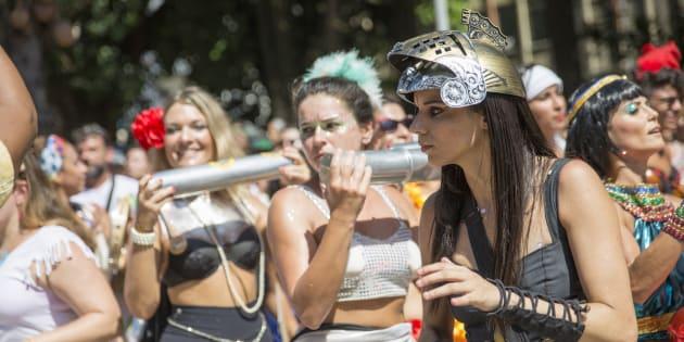 Instrumentistas do Bloco das Mulheres Rodadas no Rio de Janeiro em 2016.