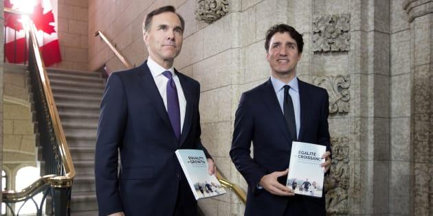 Le Premier ministre canadien Justin Trudeau et son ministre des finances Bill Morneau.